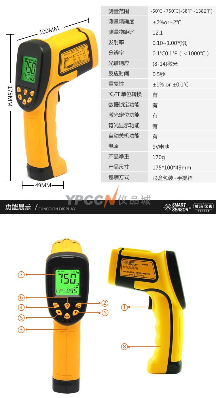 非接触式测温方法_希玛AS852B手持式红外线测温仪非接触红外测温仪测温仪温度计 ...